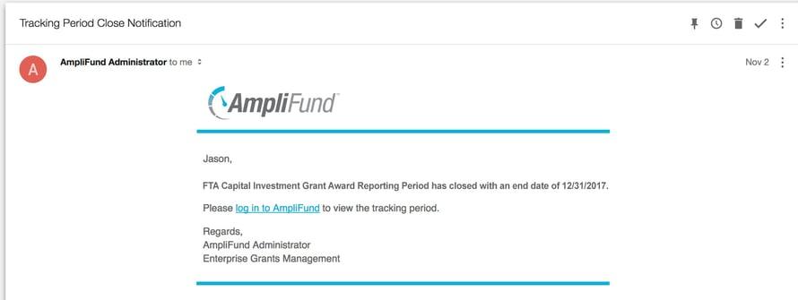 FTA Capital Investment Grant Reminder Notification