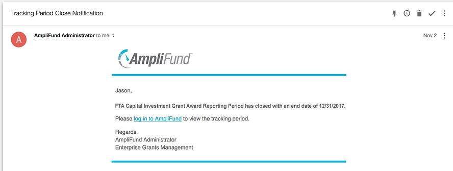 FTA Capital Investment Grant Reminder Notification