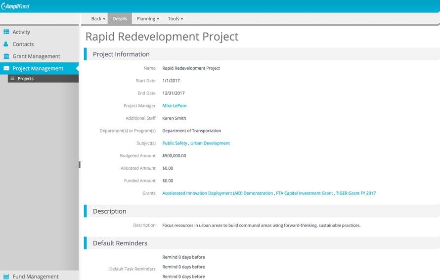 FTA Capital Investment Grant Project Screen