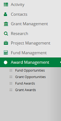 New Award Management Navigation
