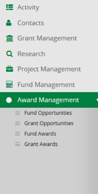 New Award Management Navigation